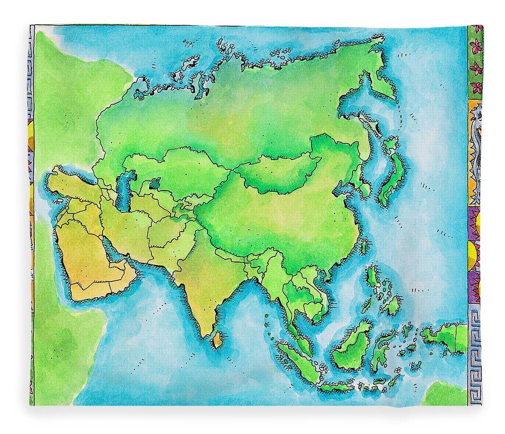 Watercolor Painting Fleece Blanket featuring the digital art Map Of Asia by Jennifer Thermes