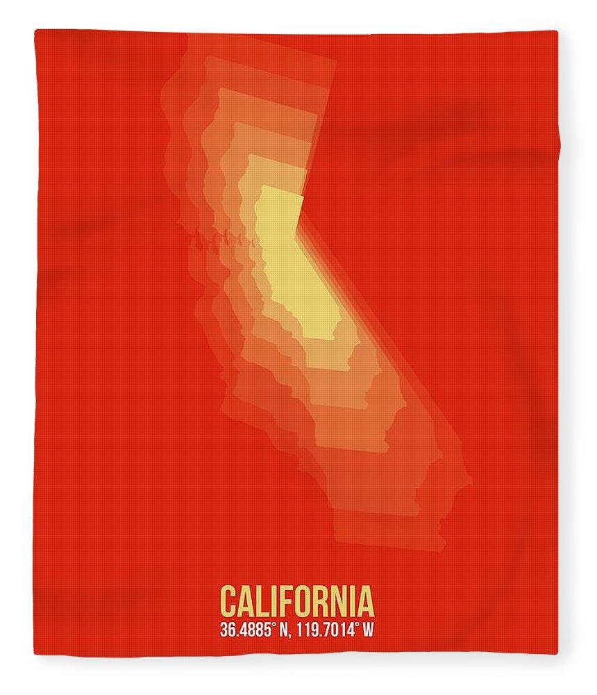 Map Of California Fleece Blanket featuring the digital art Map Of California Yellow by Naxart Studio