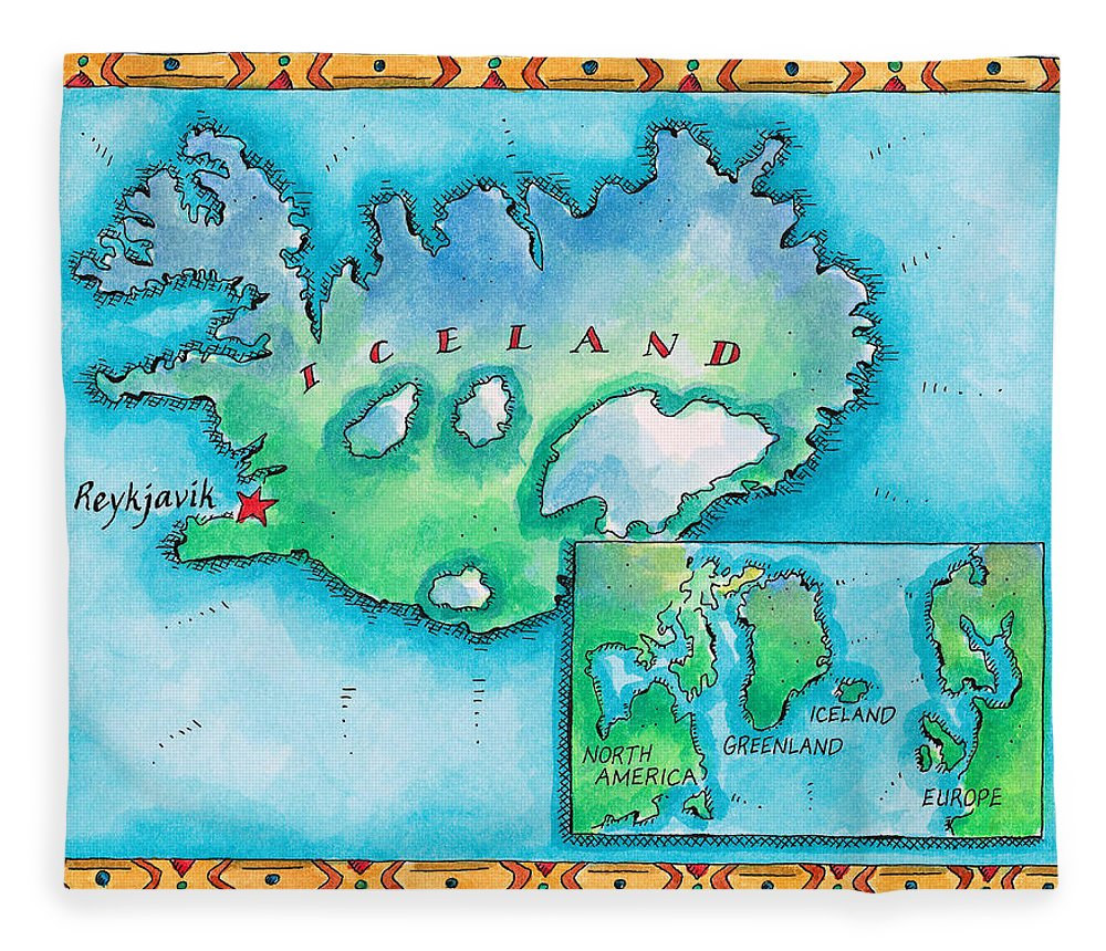 Watercolor Painting Fleece Blanket featuring the digital art Map Of Iceland by Jennifer Thermes
