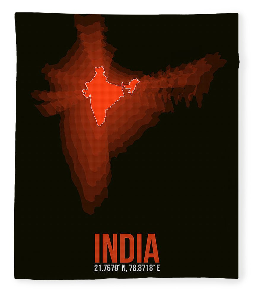 Map Of India Fleece Blanket featuring the digital art Map Of India by Naxart Studio