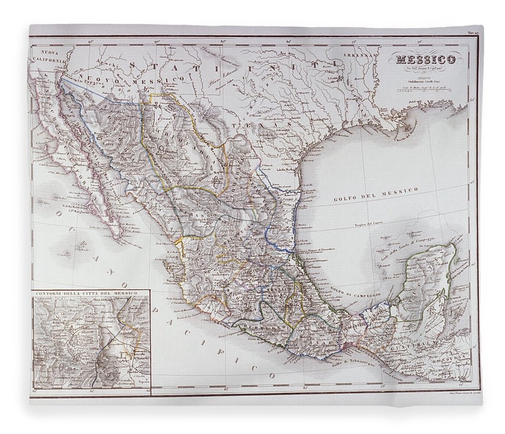 Victorian Style Fleece Blanket featuring the digital art Map Of Mexico And Outlines Of Mexico by Fototeca Gilardi