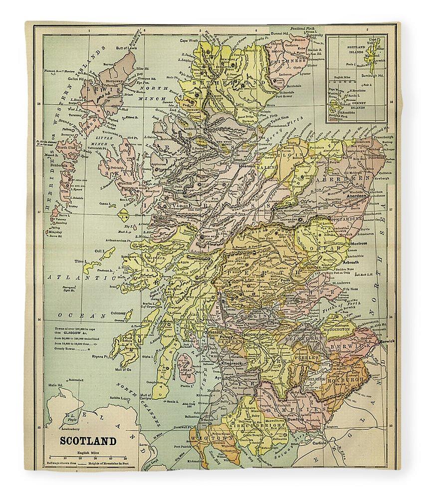 Vertical Fleece Blanket featuring the digital art Map Of Scotland 1883 by Thepalmer