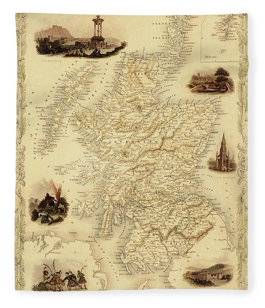 Journey Fleece Blanket featuring the digital art Map Of Scotland From 1851 by Nicoolay