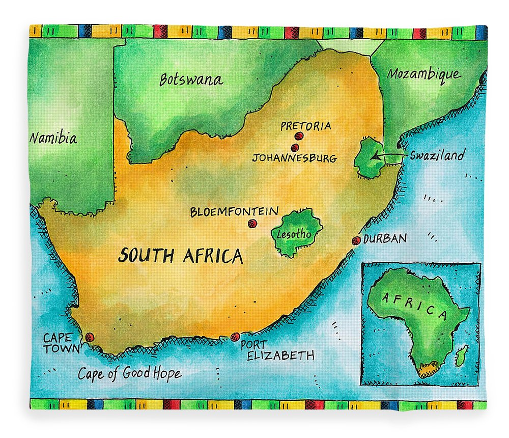 Watercolor Painting Fleece Blanket featuring the digital art Map Of South Africa by Jennifer Thermes