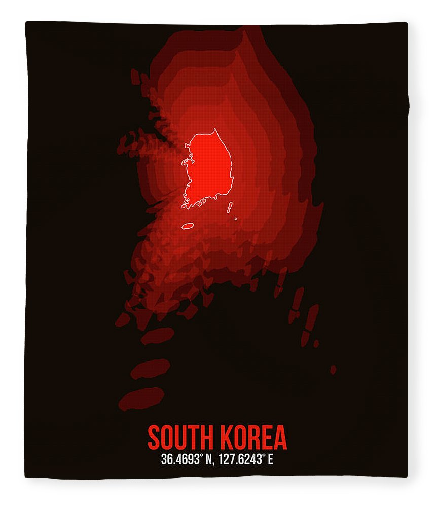 Map Of South Korea Fleece Blanket featuring the digital art Map Of South Korea by Naxart Studio