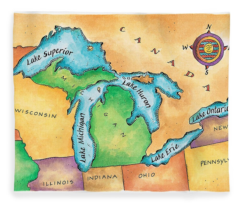 Lake Michigan Fleece Blanket featuring the digital art Map Of The Great Lakes by Jennifer Thermes