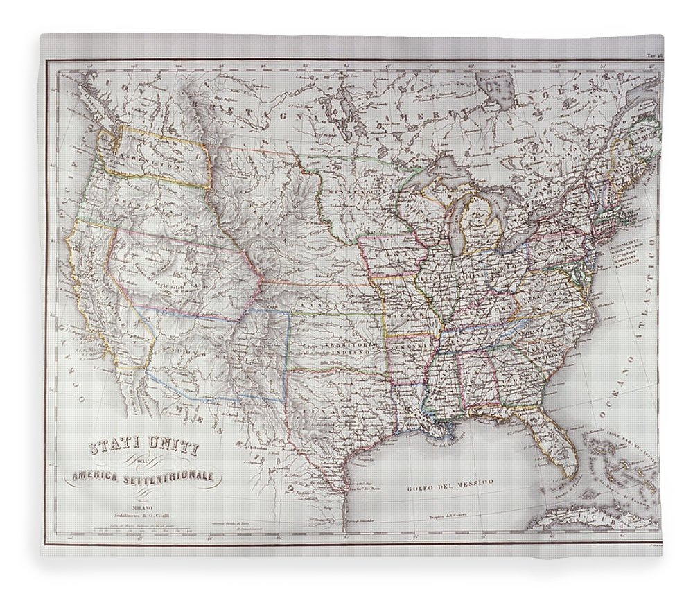 Victorian Style Fleece Blanket featuring the digital art Map Of The Northen United States by Fototeca Gilardi