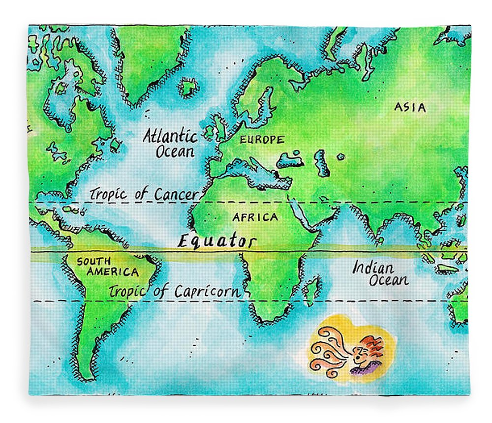 Watercolor Painting Fleece Blanket featuring the digital art Map Of The World & Equator by Jennifer Thermes