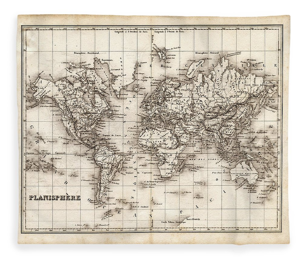 Oceania Fleece Blanket featuring the digital art Map Of The World 1842 by Thepalmer
