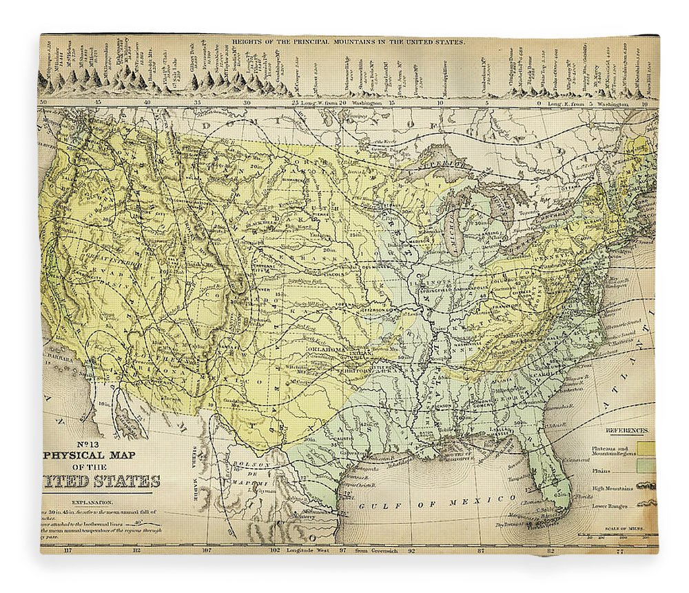 Burnt Fleece Blanket featuring the digital art Map Of Usa 1867 by Thepalmer