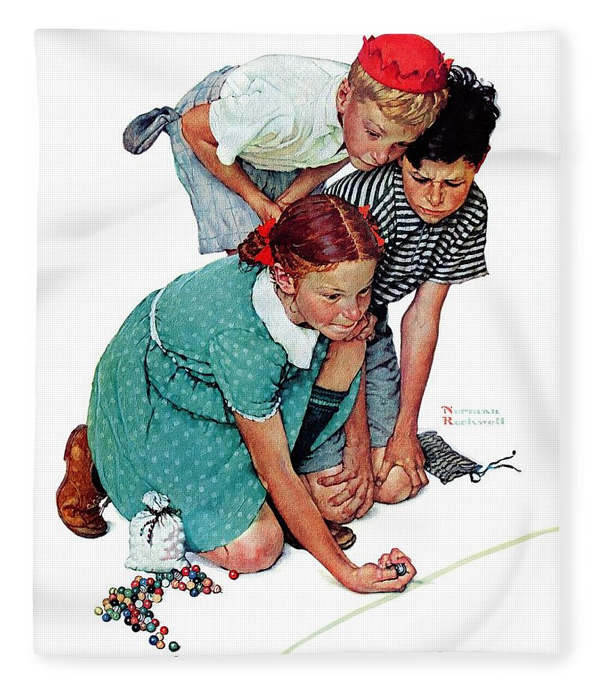 Boys Fleece Blanket featuring the drawing Marbles Champ by Norman Rockwell