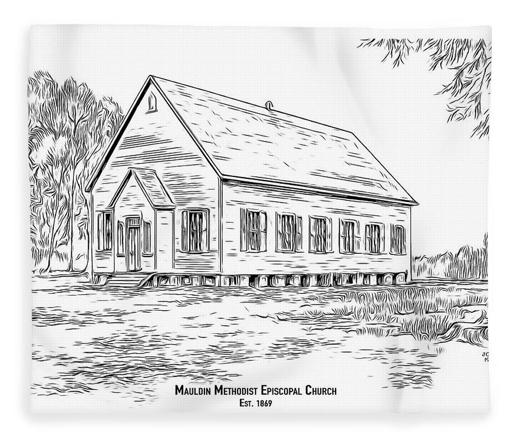 Church Fleece Blanket featuring the drawing Mauldin Methodist Episcopal by Greg Joens