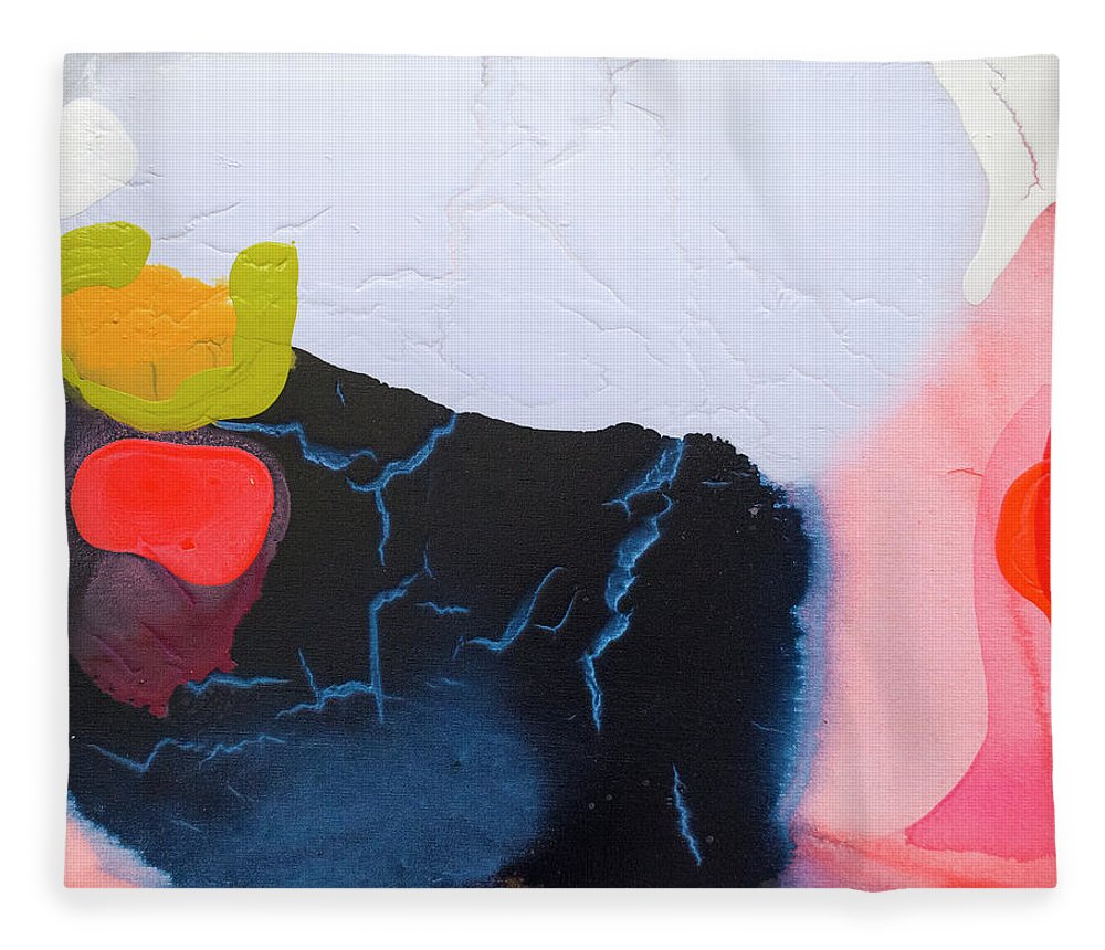 Abstract Fleece Blanket featuring the painting Maya 01 by Claire Desjardins