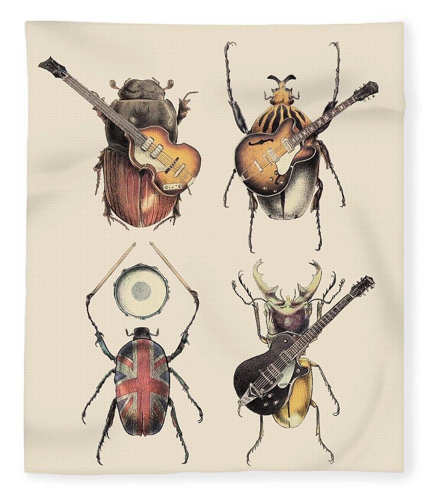 Beatles Fleece Blanket featuring the digital art Meet the Beetles by Eric Fan