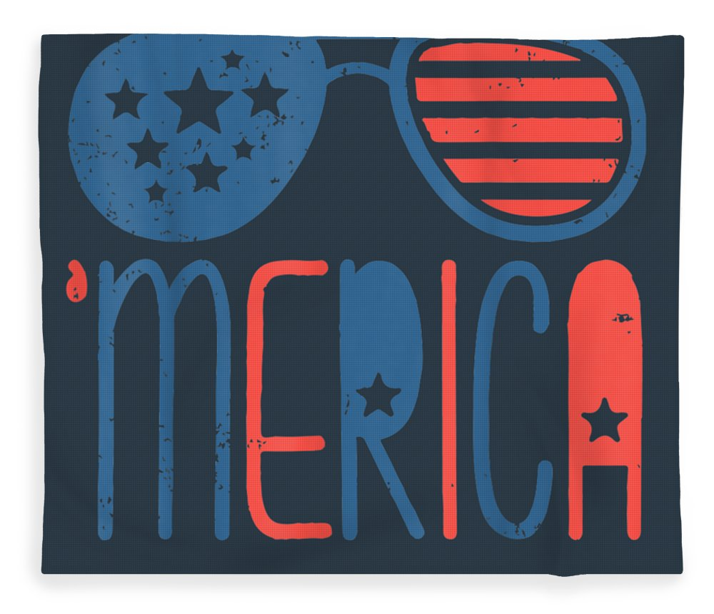 girls' Novelty T-shirts Fleece Blanket featuring the digital art Merica American Flag Aviators Toddler Tshirt 4th July White by Unique Tees