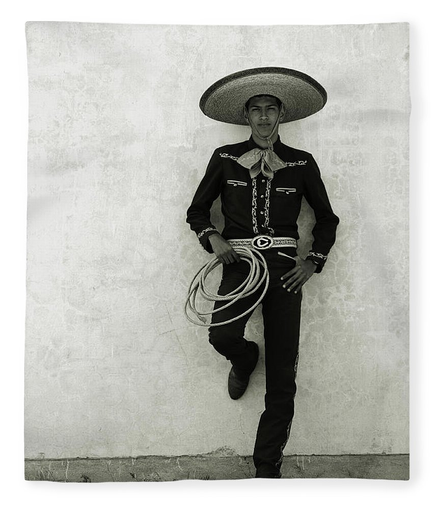 Cool Attitude Fleece Blanket featuring the photograph Mexican Cowboy Wearing Hat And Holding by Terry Vine