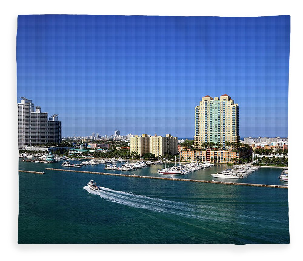 Built Structure Fleece Blanket featuring the photograph Miami Beach Marina by Jorgegonzalez