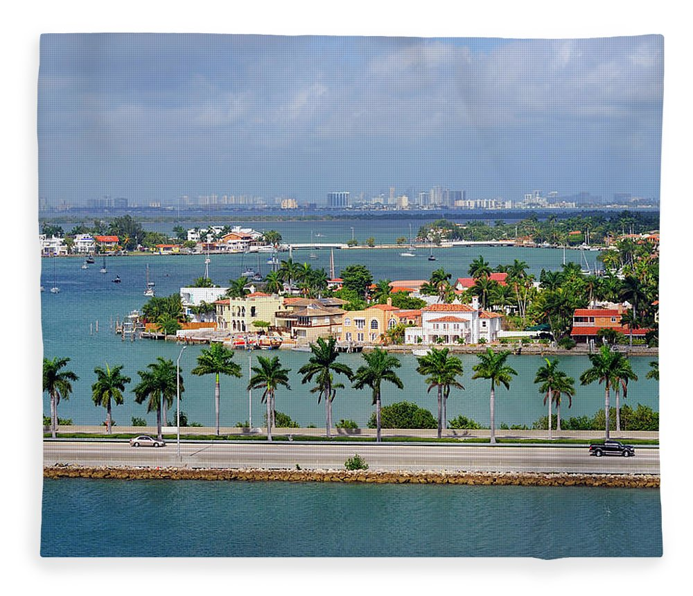 Trading Fleece Blanket featuring the photograph Miami Mac Arthur Causeway En Route To by Jfmdesign