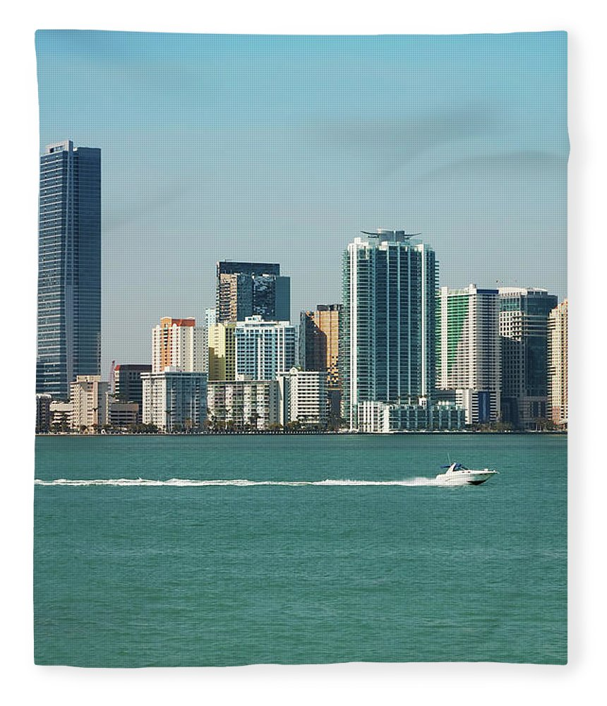 Downtown District Fleece Blanket featuring the photograph Miami Skyline - Verical by Thepalmer