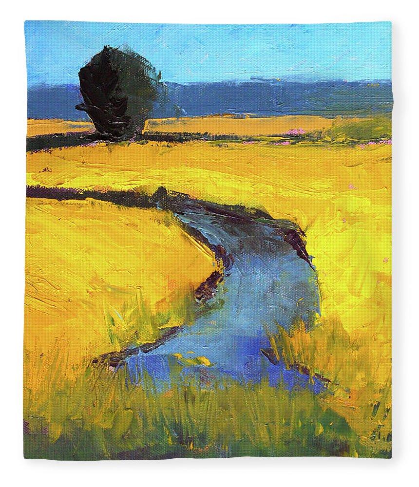 Yellow Landscape Fleece Blanket featuring the painting Mid July by Nancy Merkle