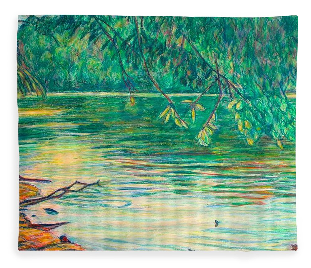 Landscape Fleece Blanket featuring the painting Mid-Spring on the New River by Kendall Kessler