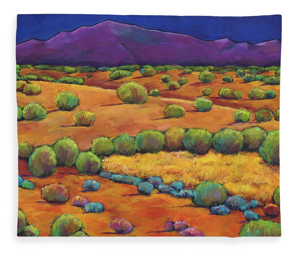 Contemporary Southwest Fleece Blanket featuring the painting Midnight Sagebrush by Johnathan Harris