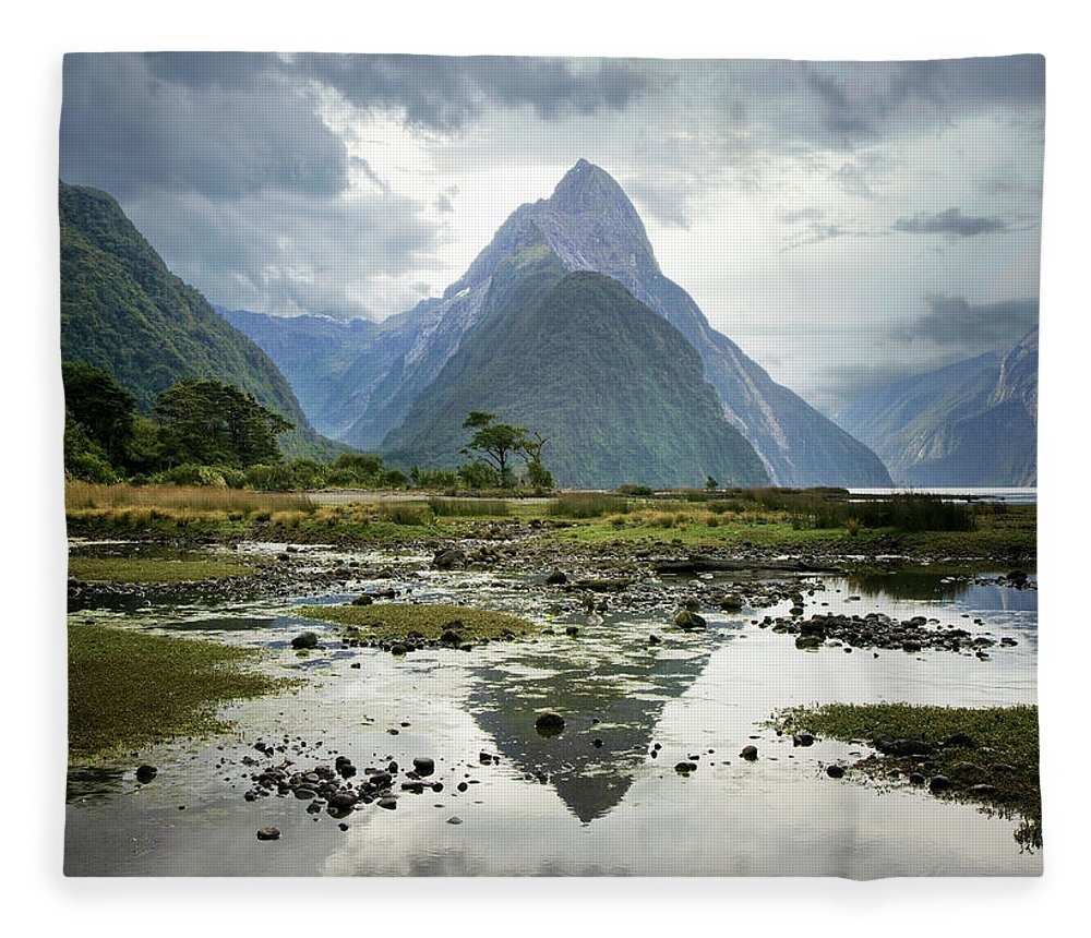 Tranquil Scene Fleece Blanket featuring the photograph Milford Sound, South Island, New Zealand by Ed Freeman