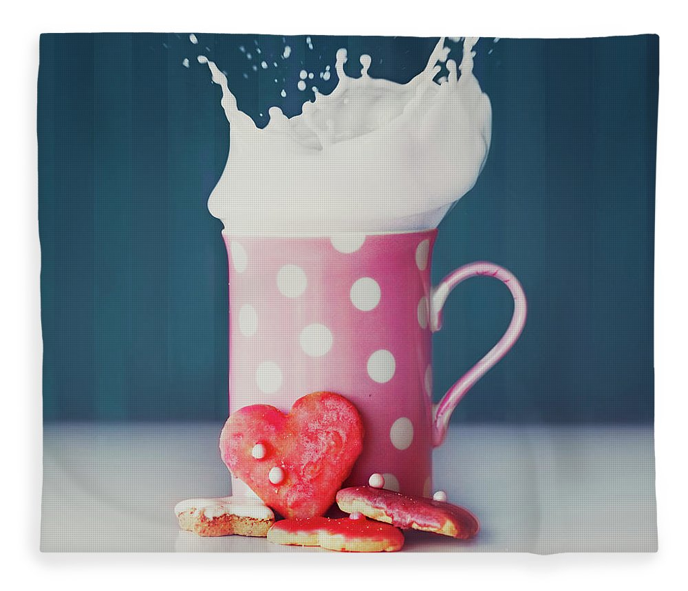 Milk Fleece Blanket featuring the photograph Milk And Heart Shape Cookies by Julia Davila-lampe