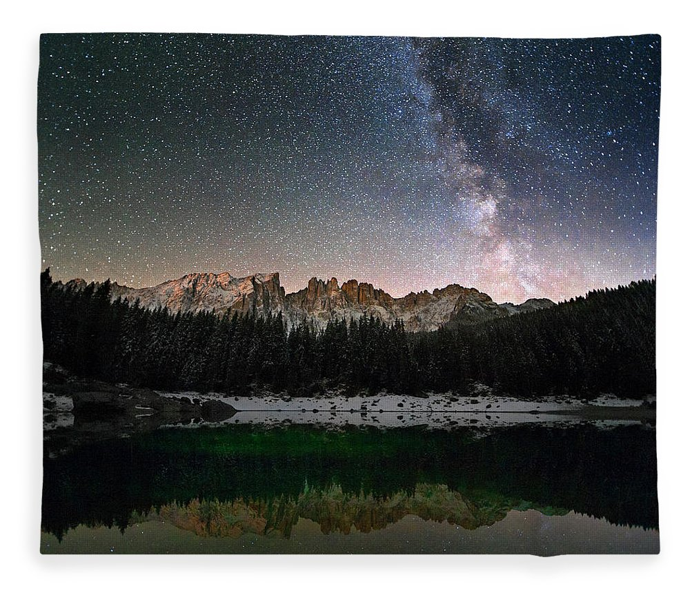 Scenics Fleece Blanket featuring the photograph Milky Way In The Alps by Scacciamosche