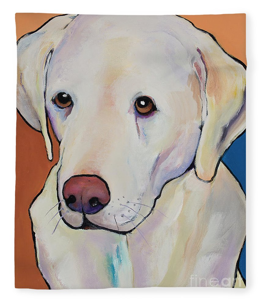 Yellow Lab Fleece Blanket featuring the painting Mille by Pat Saunders-White