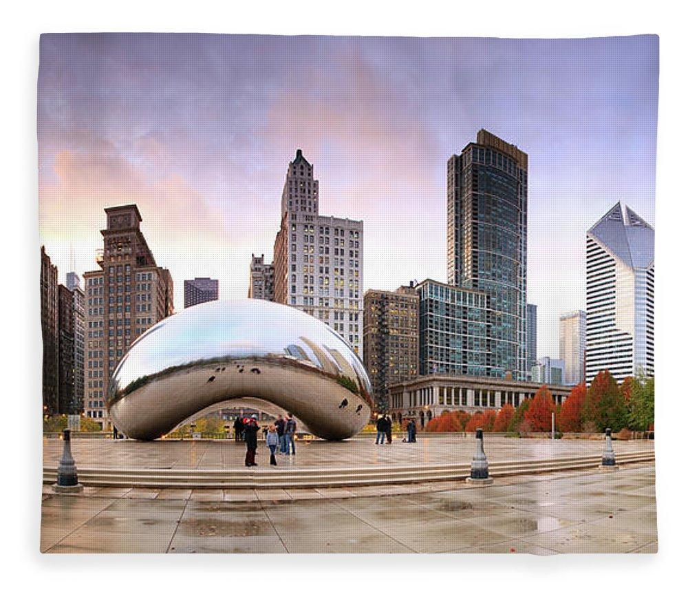 Dawn Fleece Blanket featuring the photograph Millennium Park, Chicago, Illinois,usa by Travelpix Ltd