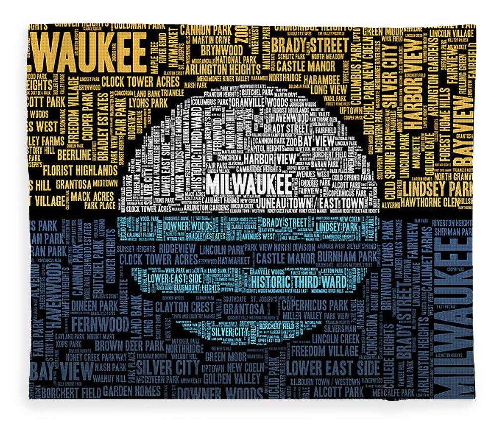 Word Cloud Fleece Blanket featuring the digital art Milwaukee Neighborhood Word Cloud by Scott Norris