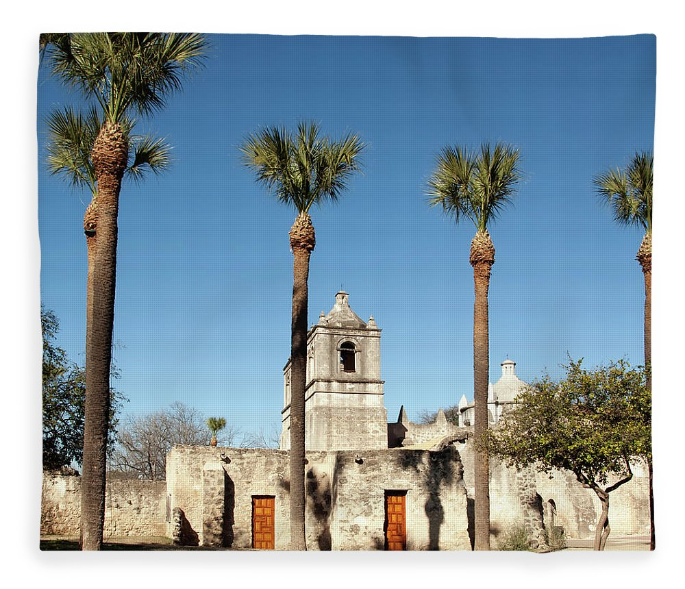 Built Structure Fleece Blanket featuring the photograph Mission Concepcion Detail, San Antonio by Ivanastar