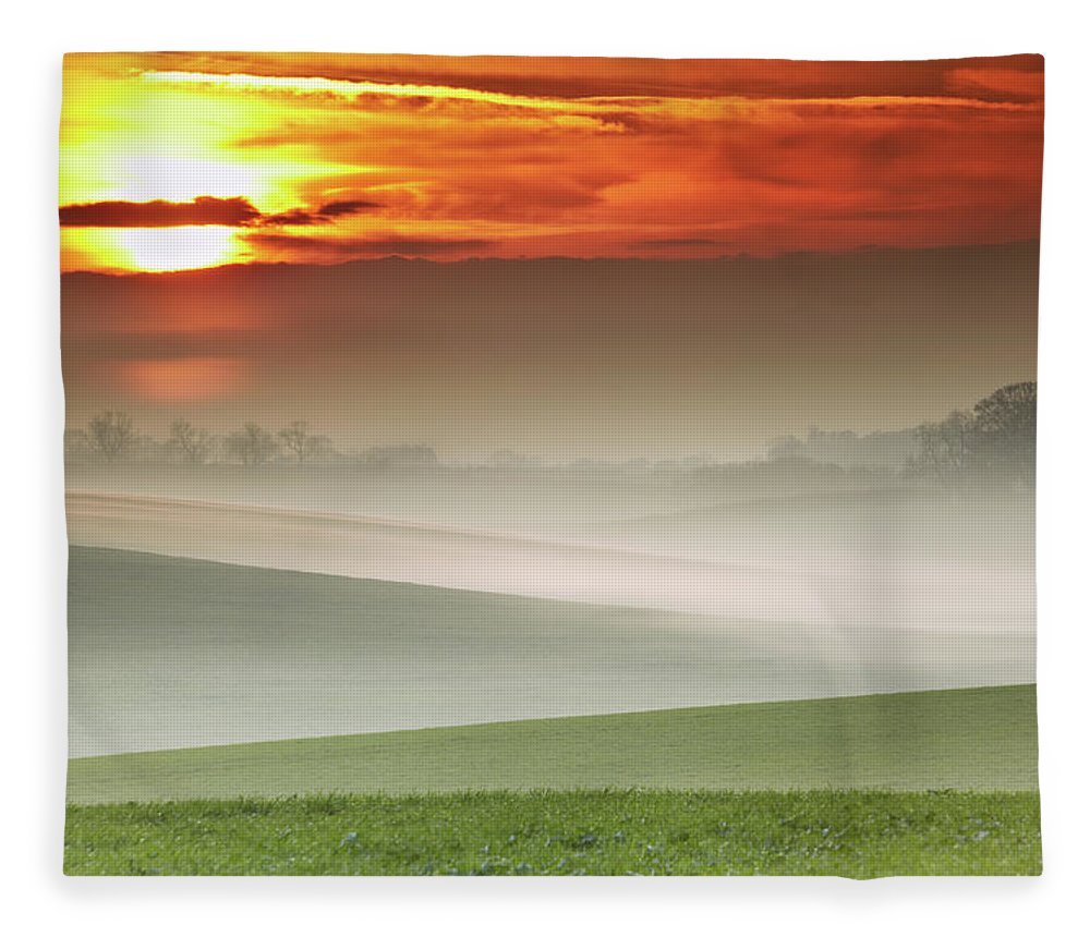 Tranquility Fleece Blanket featuring the photograph Mist Over Landscape Of Rolling Hills by Andy Freer