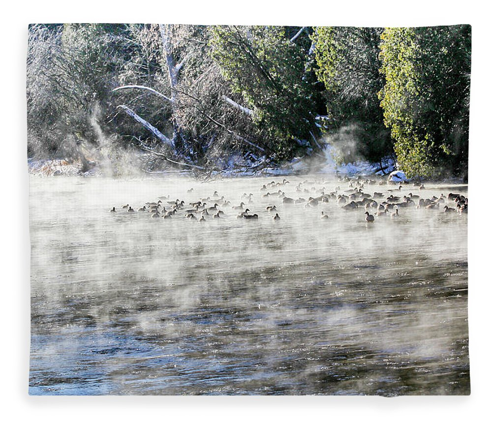 Speed River Fleece Blanket featuring the photograph Misty River by Nick Mares