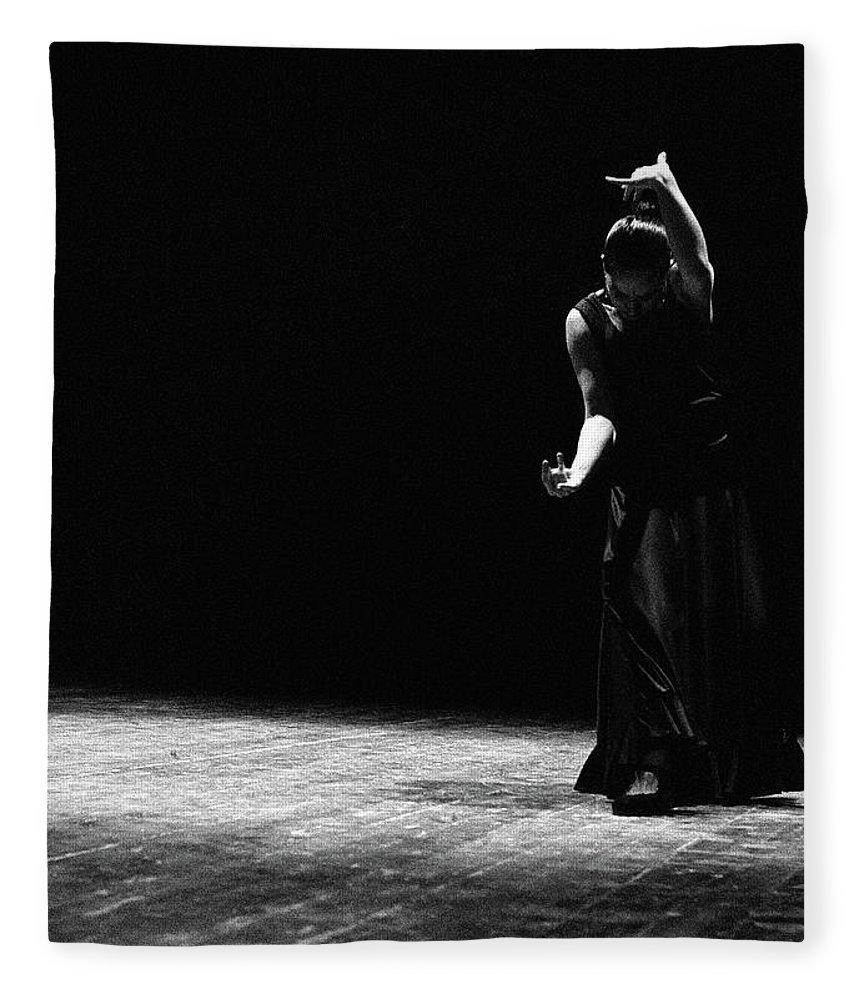 Ballet Dancer Fleece Blanket featuring the photograph Modern Flamenco by T-immagini