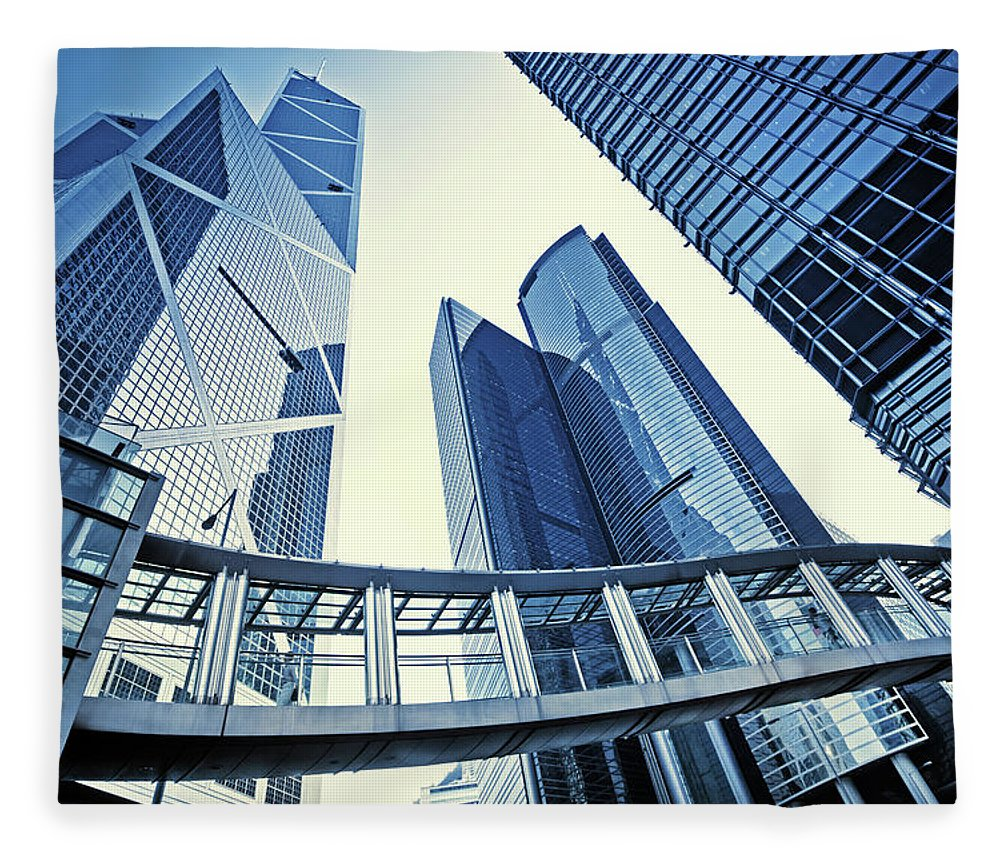 Corporate Business Fleece Blanket featuring the photograph Modern Office Buildings by Nikada