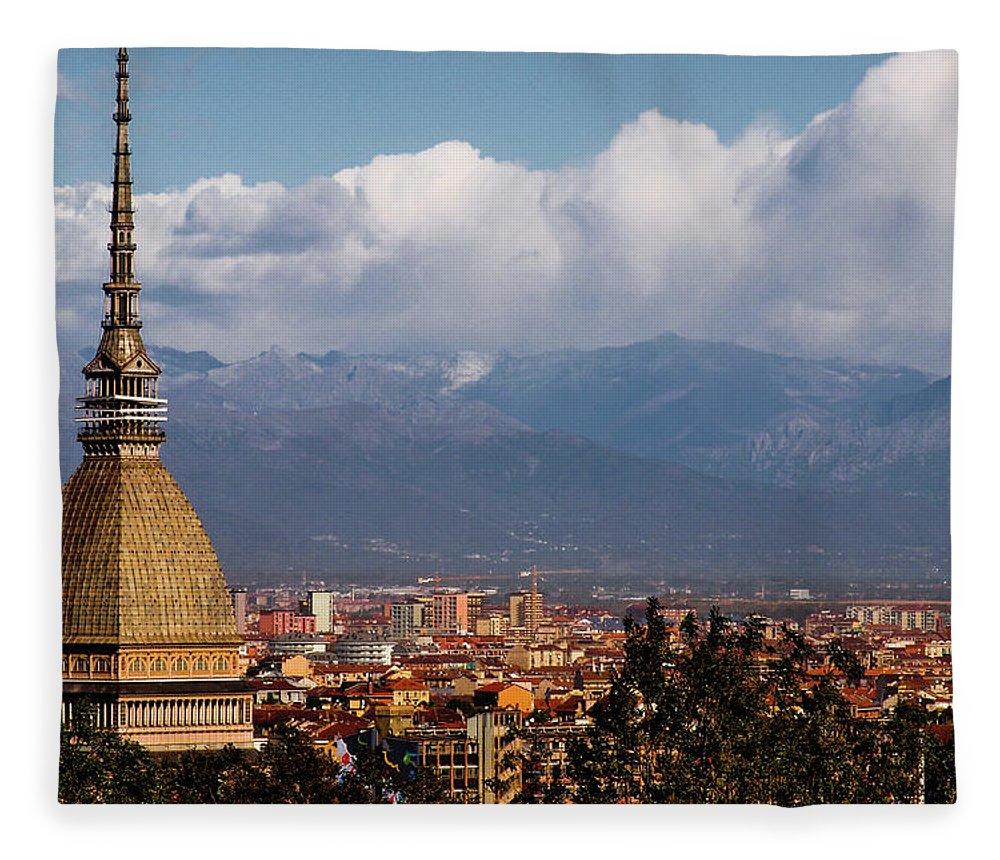 Built Structure Fleece Blanket featuring the photograph Mole Antonelliana, Torino And Alps by Rodolfo Rodríguez Castro