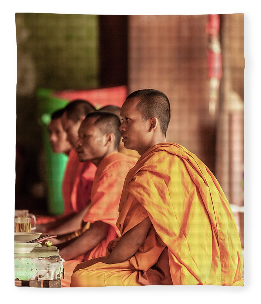 Young Men Fleece Blanket featuring the photograph Monks At Breakfast, Wat Monastery by Cultura Rm Exclusive/gary Latham