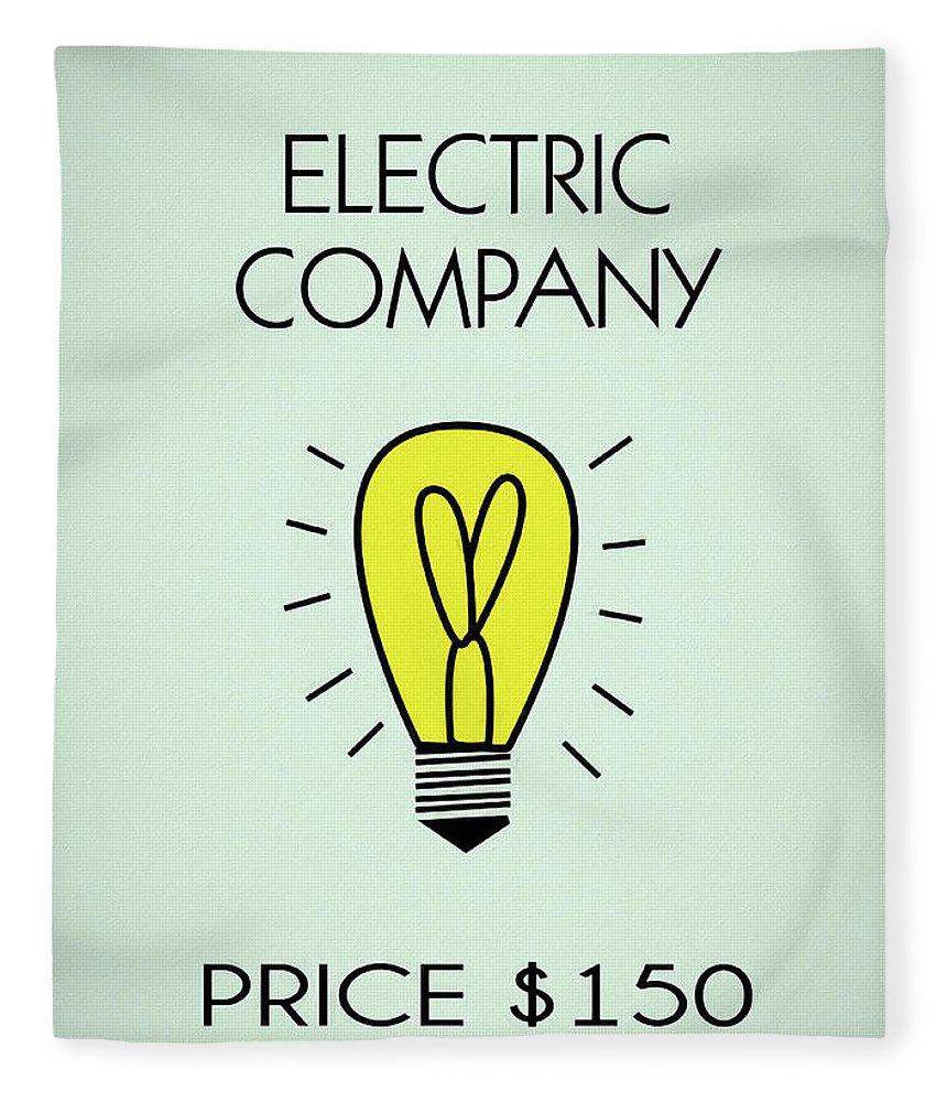 Monopoly Electric Company Fleece Blanket featuring the mixed media Monopoly Electric Company by Dan Sproul