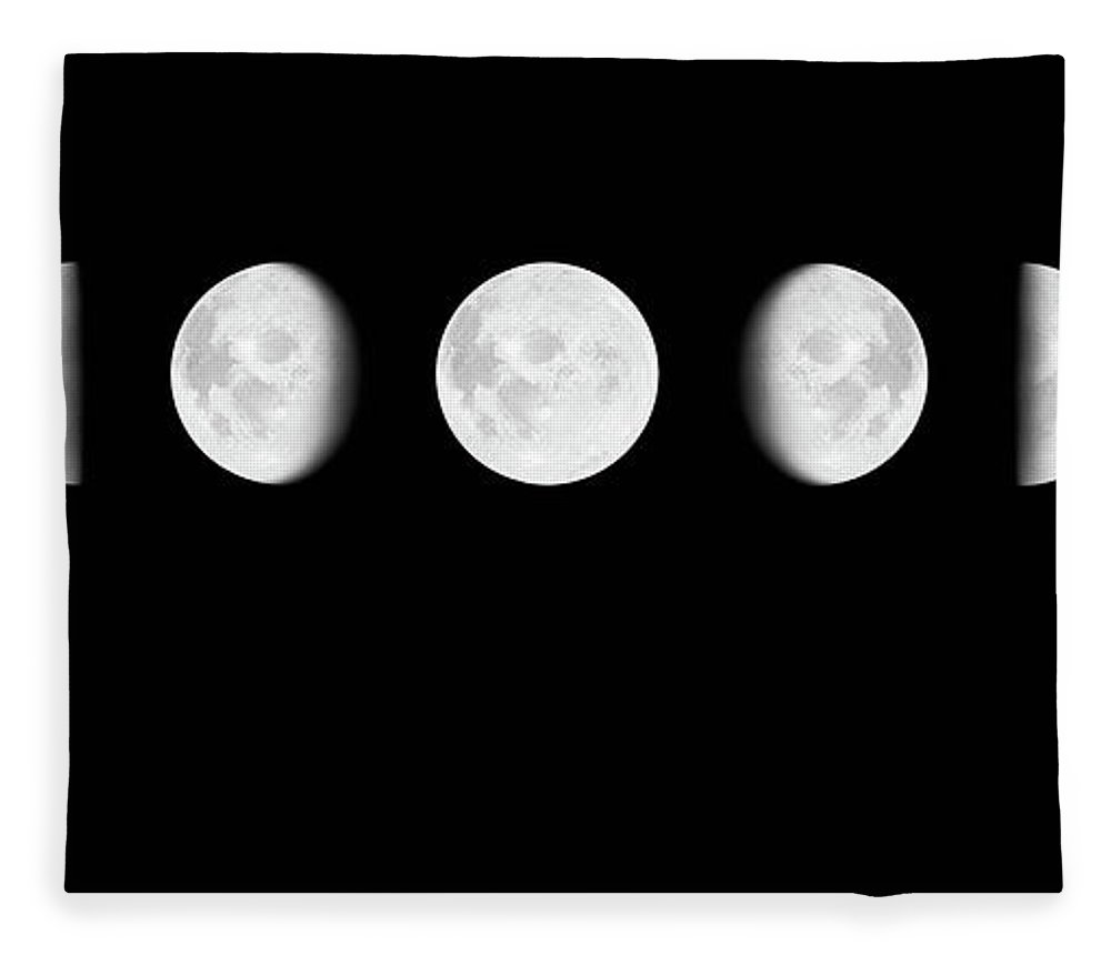 Sequential Series Fleece Blanket featuring the photograph Moon Surface With Different Phases Xxxl by Cruphoto