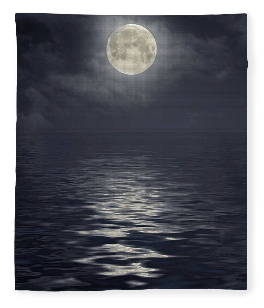 Scenics Fleece Blanket featuring the photograph Moon Under Ocean by Andreyttl