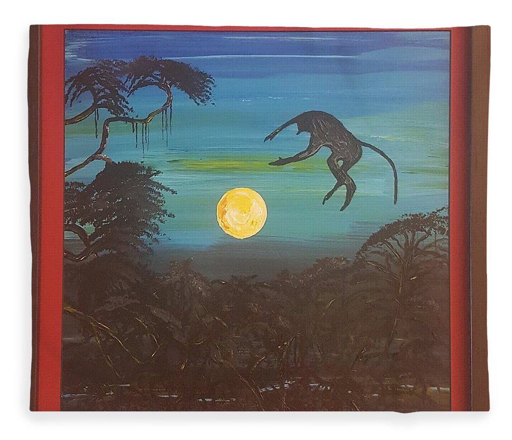 Moonlight Baboon Fleece Blanket featuring the photograph Moonlight Baboon by Quintus Curtius