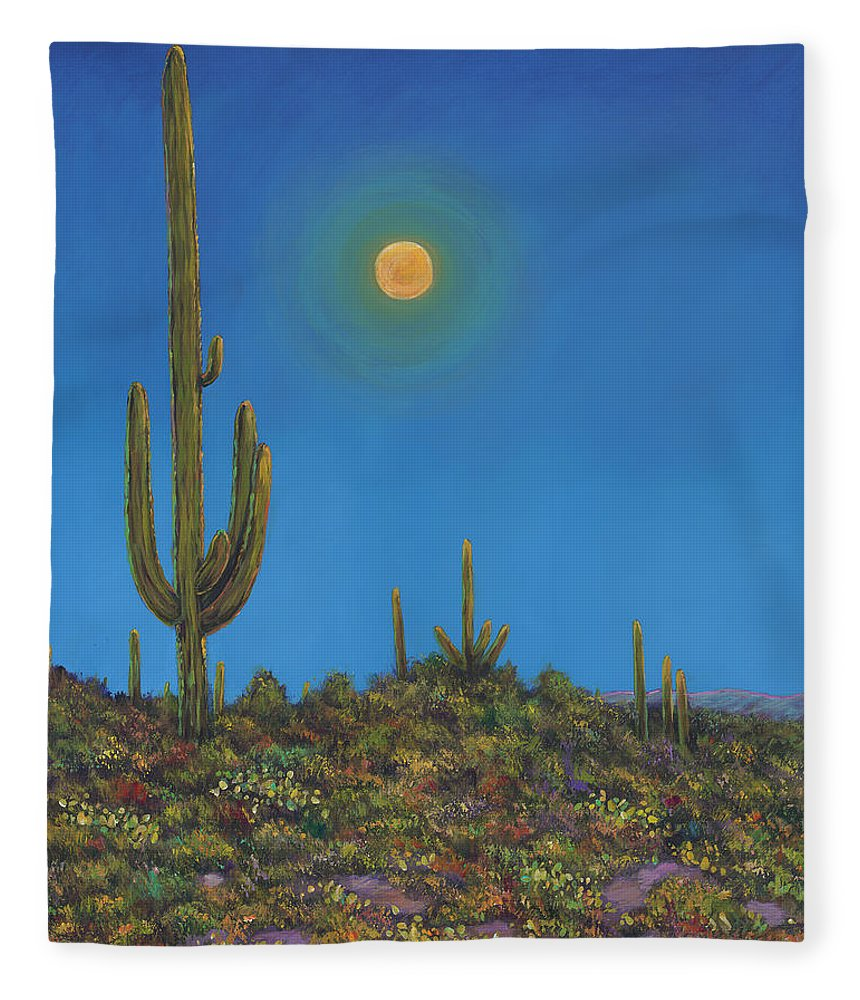 Arizona Fleece Blanket featuring the painting Moonlight Serenade by Johnathan Harris