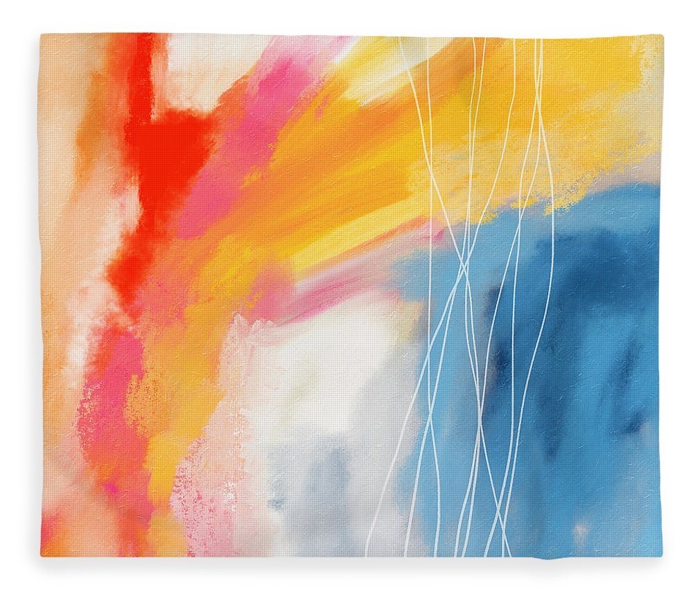 Abstract Fleece Blanket featuring the mixed media Morning 2- Art by Linda Woods by Linda Woods