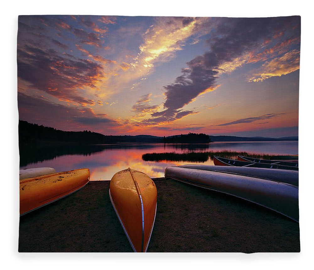 Tranquility Fleece Blanket featuring the photograph Morning At Lake Of The Two Rivers by Henry@scenicfoto.com