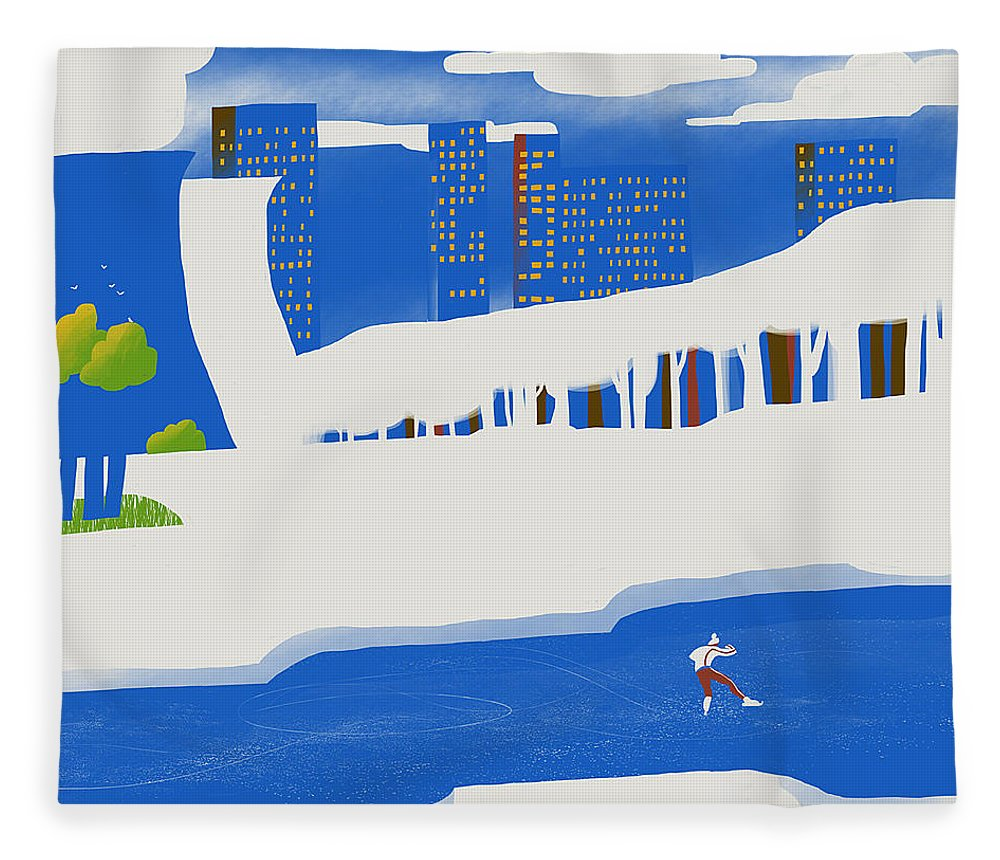 People Fleece Blanket featuring the digital art Moscow December by Sergey Maidukov