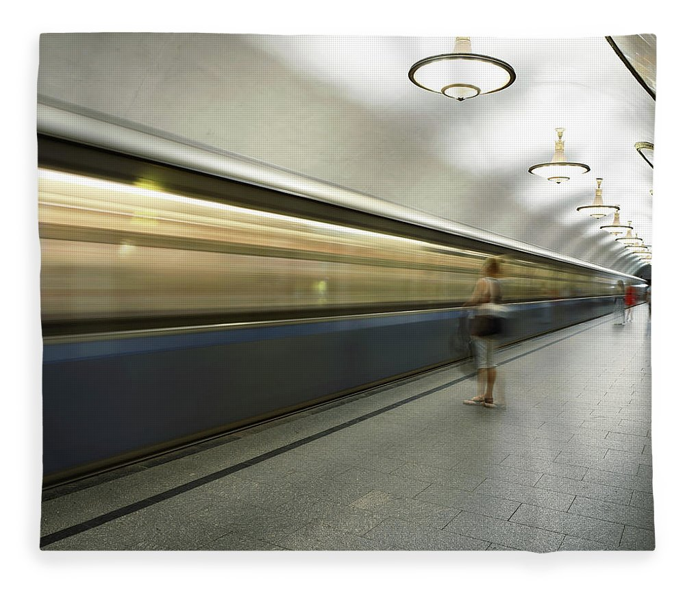 People Fleece Blanket featuring the photograph Moscow Metro by Fmajor