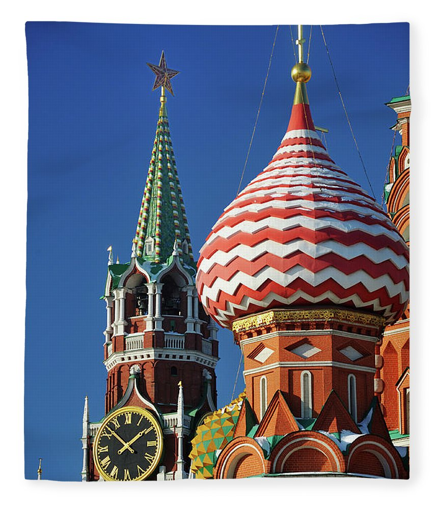 Built Structure Fleece Blanket featuring the photograph Moscow, Spasskaya Tower And St. Basil by Vladimir Zakharov