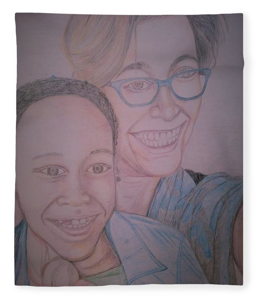 Drawing Fleece Blanket featuring the drawing Mother and Daughter by Andrew Johnson